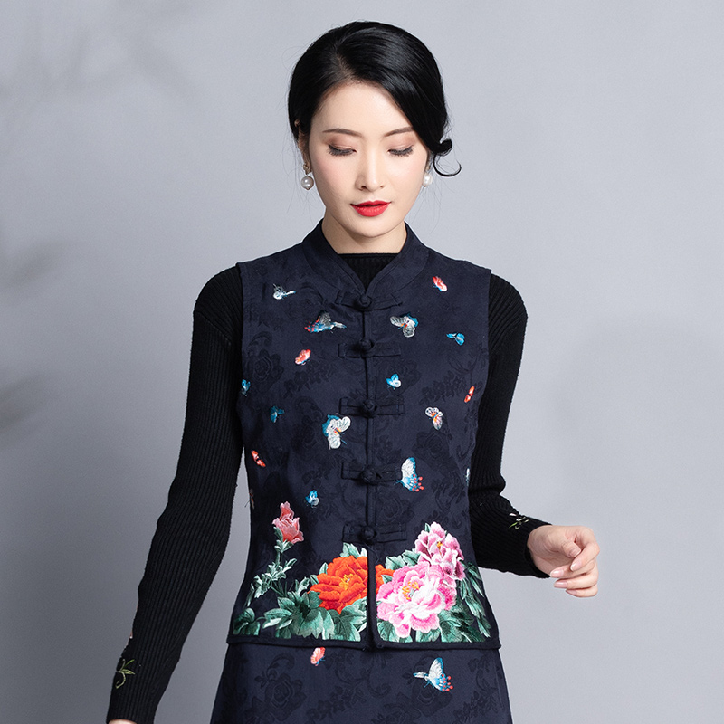And Winter New Women's Wear Ethnic Style Embroidery Jacquard Cotton Horse Nail Self-cultivation Retro-Chinese Horse Jacket Coat