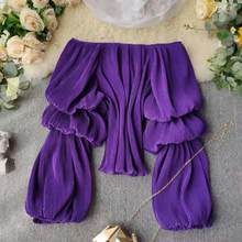 Camisetas con cuello barco para mujer, Tops cortos de gasa con mangas abullonadas plisadas para primavera y verano, novedad de verano, ML870