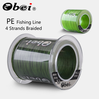 Obei 300M 500M PE Fishing Line 4 Strands Braided  Multifilament Fishing Line Smooth Sea Softwater Line 10-120lb meredith 4 strands braided pe fishing line 300m 500m 1000m 15 80lb multifilament smooth fishing line for fishing lure bait