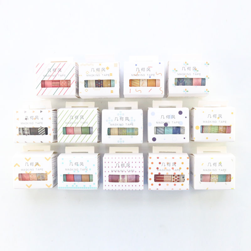 Domikee Cute Japanese Basic Decoration DIY Journal Diary Notebooks Washi Tapes Set Candy Scrapbooking Masking Tapes Stationery