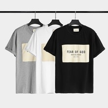Essentials Oversized Pasted T-shirt High Street Fashion O-neck Short Sleeve Top Round Neck Slim T-shirt Oversized T-shirt