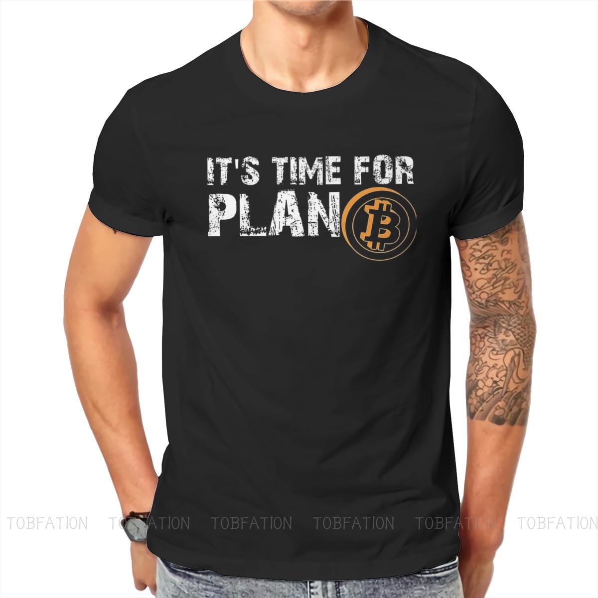 Bitcoin Art Satoshi Nakamoto It's Time For Plan B TShirt Men Gothic Big Size Casual Crewneck Cotton T Shirt 2020 1