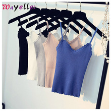 Top Women Solid Sexy Strapless Knitted Tank Tops Short Cute Sweet V Neck Fitness Sweater Backless