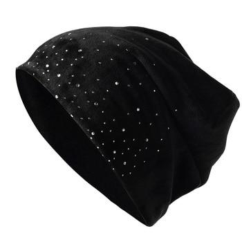 2021 Fashion Women Shiny Rhinestone Beanie Autumn Winter Female Casual Hat Ladies Velvet Fabric Soft Cap Skullies Bonnet