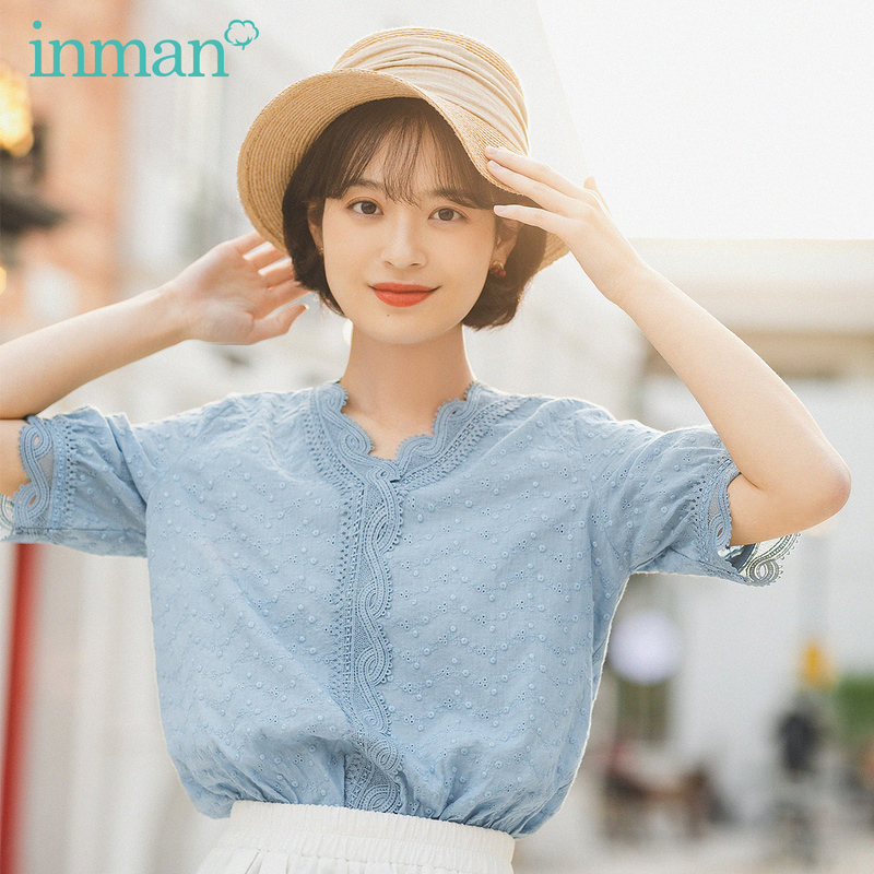 INMAN 2020 Summer New Arrival Literature Cotton V-neck Fiber Lace Short Sleeve Hollow Out Blouse
