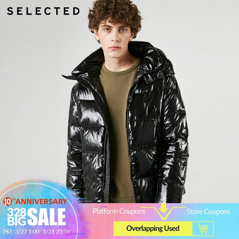 SELECTED Men's Glossy Short Down Jacket New Hooded Parka Duck Down Coat Winter Casual Male Clothes C | 419112507