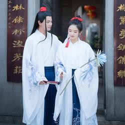 Oude Chinese Kostuum Mannen Vrouwen Prestaties Outfit Tang-dynastie Witte Hanfu Jas Traditionele Klassieke Dans Kleding DNV12453