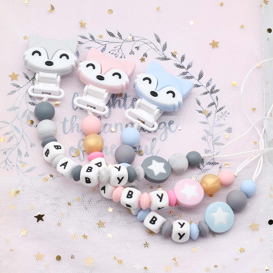 Custom Baby Name Pacifier Personalize Silicone Teething Teether Beads Pacifier Chain Chew Nipple Holder Baby Dummy Clip Toy