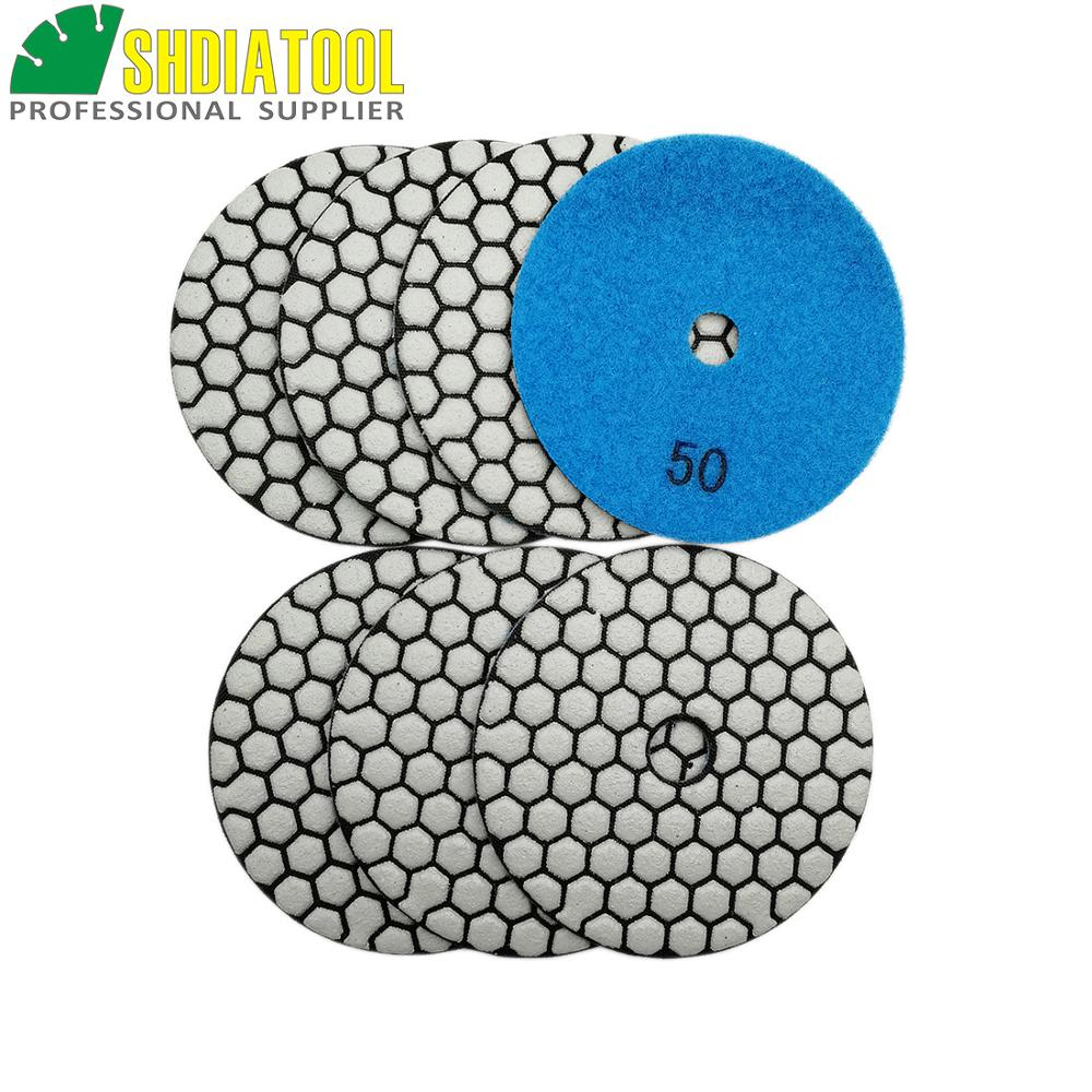 SHDIATOOL 7pcs 4inches #50 Dry Diamond Polishing Pads Diameter 100MM Resin Bond Diamond Flexible Polishing Pads