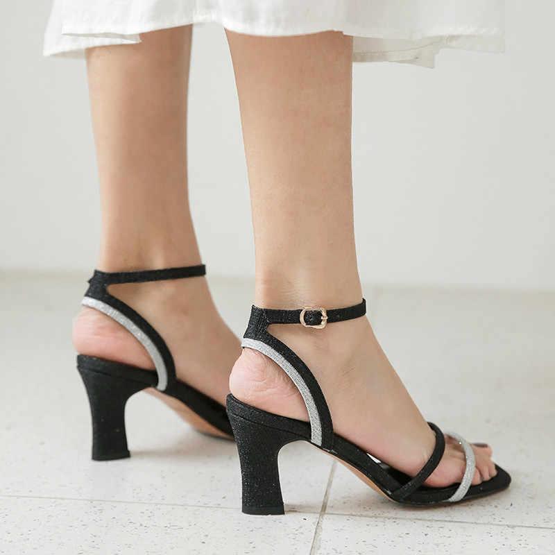 FEDONAS kadın sandalet sentetik yapay elmas yüksek topuklu yan toka iş ayakkabısı İlkbahar yaz en kaliteli zarif ayakkabı kadın
