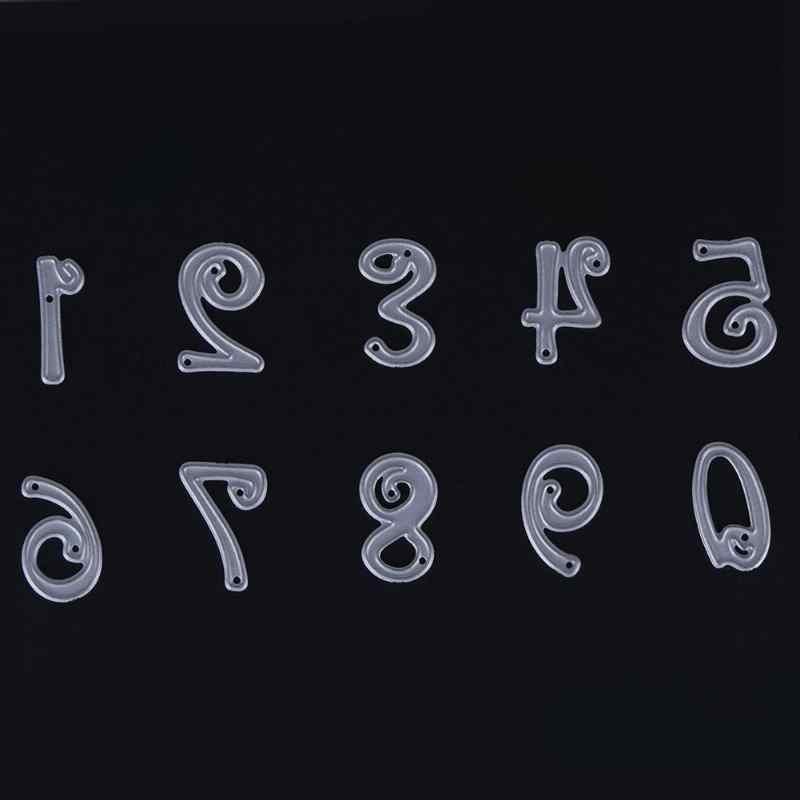 10 adet numarası sembolü zanaat dekoratif numarası Metal kesme Die DIY fotoğraf albümü karalama defteri kabartma şablonlar kağıt sanat kesici kalıp