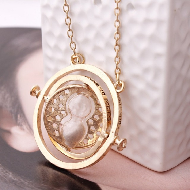 360 Degree Rotatable Horcrux Harri Potter Time Converter Hourglass Vintage Pendant Hermione Granger Necklace Time Turner Toys