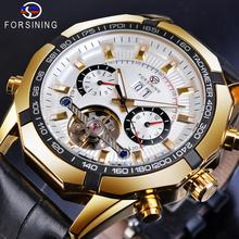 Forsining Machanical Mens Watch Top Brand Fashion Male Wristwatch Casual Automatic Male Clock Black Leather Strap Luminous Watch цена 2017