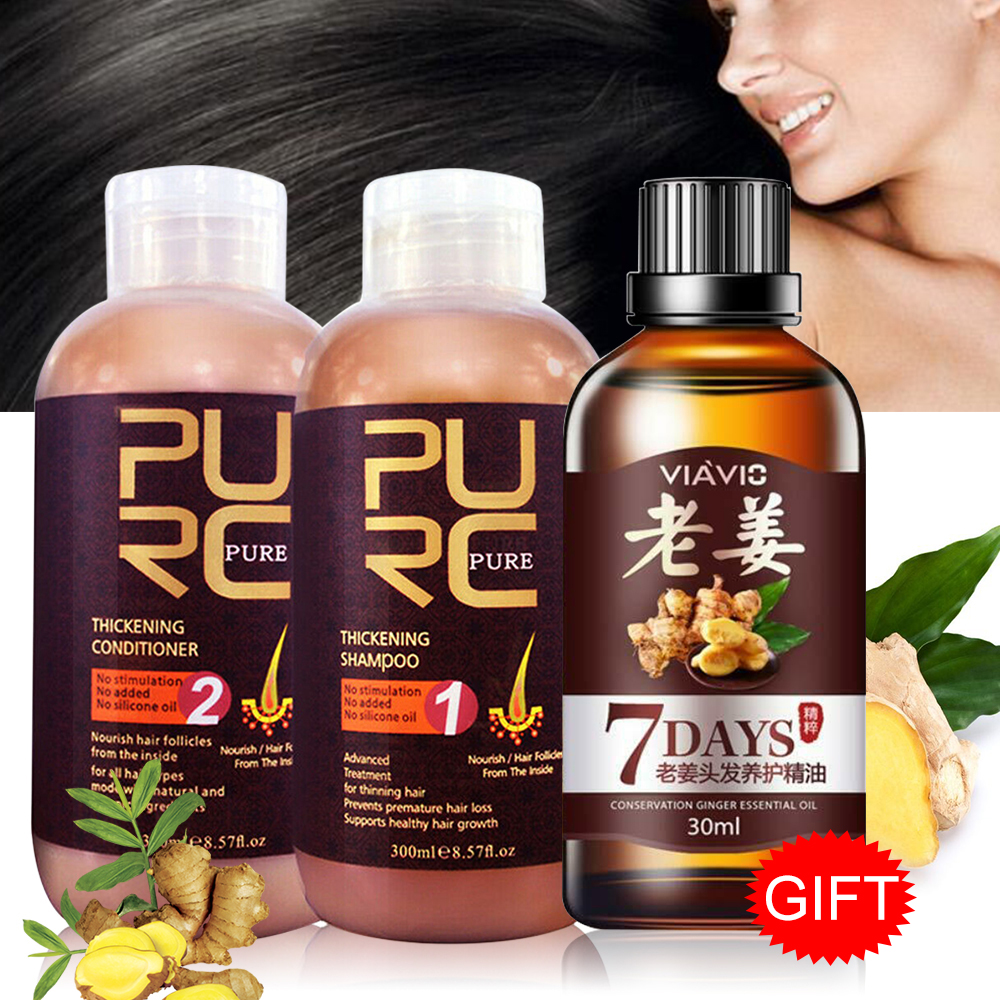 Thickening Hair 300ml Shampoo And Conditioner Set For Hair Growth Hair Loss Prevents Premature Thinning Hair Unisex Free Gift image
