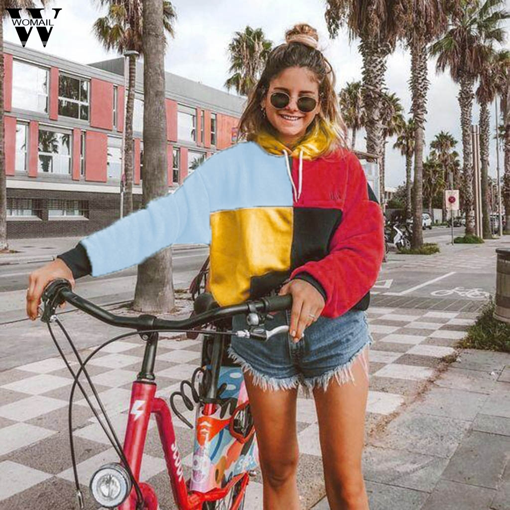 NEW Womail Sweatshirts Womens Fashion Red Striped O-Neck autumn Casual Pullover Female 2020 Harajuku Hooded Sweatershirts S-XL
