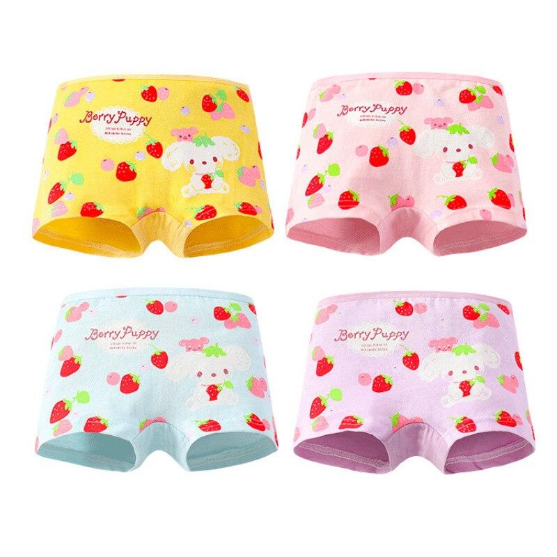 4Pc/lot Baby Girls Kids Underwear Children Panties Girls Underpants Cartoon Short Pants 2-10Y