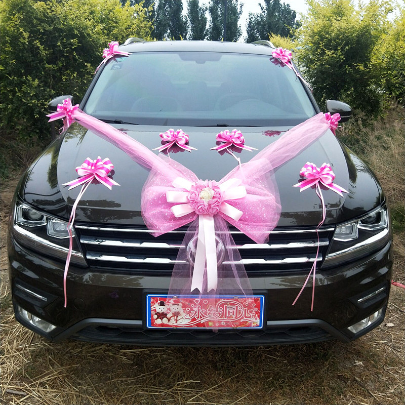 Wedding Car Decorative Flower Silk Artificial Tulle Bowknot Party Roses Car Decorations Accessories Festival Supplies in Party DIY Decorations from Home Garden