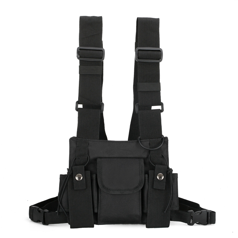 ABKT-Radio Walkie Talkie 3 Pocket Chest Pack Bag Harness For Motorola Baofeng KENWOOD Front Pack Vest Pouch Bag Carry Case