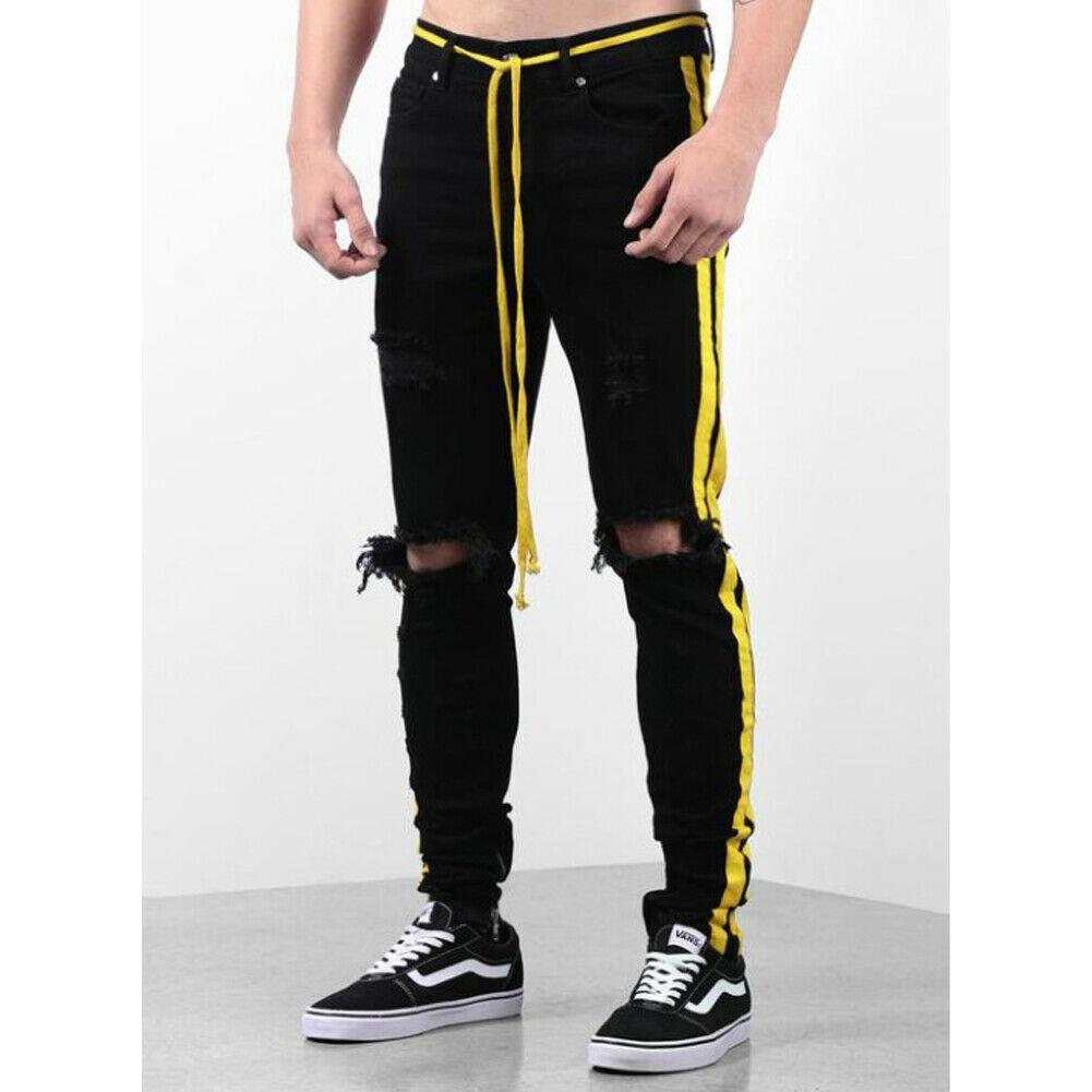 Men Side Yellow Stripe Print Jeans Biker Destroyed Frayed Fit Denim Ripped Pants Side Stripe Pencil Pants Hip Hop Streetwear