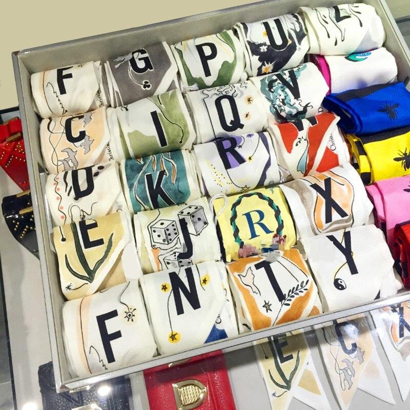 New 26 Letters Scarf Women Silk Scarf Bag Skinny Constellation Scarf 2019 New Design Print Fashion Head Scarf Brand Small Tie