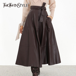 TWOTWINSTYLE Korean Style Women's Skirt High Waist Lace Up Solid Large Size Autumn Leather Skirts Female Fashion Clothing 2019