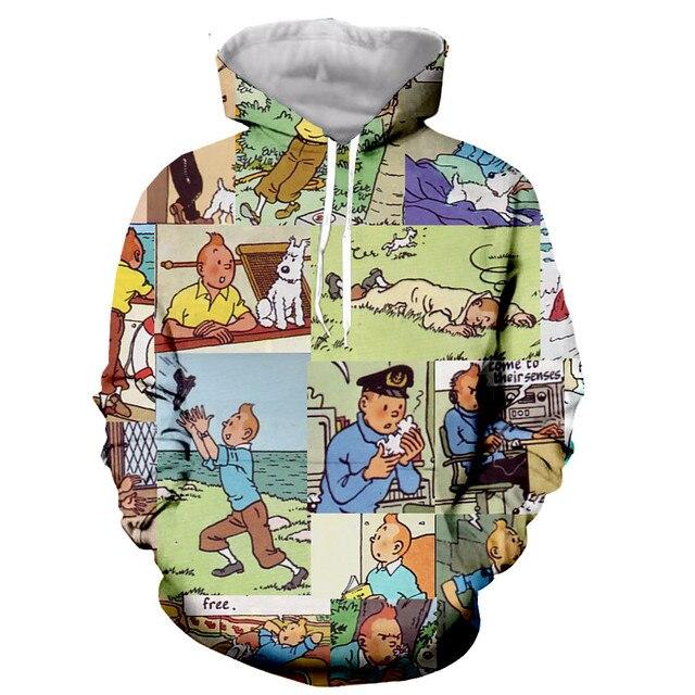New arrive The Adventures of Tintin 3D print men women fashion cool sweatshirt hoodies streetwear casual dropshipping 6