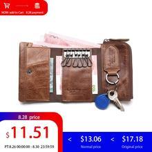 Контакта мужской кошелек футляр для ключей держатель ключа кошелечного типа портмоне из натуральной кожи ключница автомобильный органайзер для ключей сумка небольшой портфель