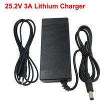 25.2v 3a li ion carregador de bateria usado para 22.2v 24v 6s lítio ebike bicicleta ferramenta elétrica bateria frete grátis