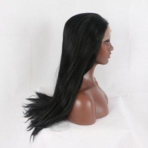 Image 3 - Bomba siyah düz saç sentetik dantel ön peruk doğal saç çizgisi ısıya dayanıklı iplik saç orta ayrılık kadınlar için peruk