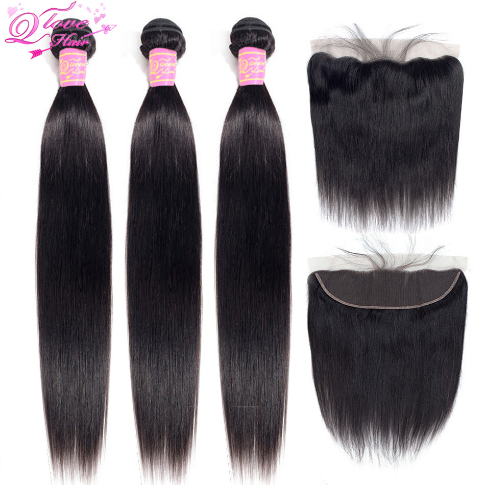 Queen Love Hair Peruvian Hair Bundles With Closure Nature Color 3 Bundles With 13*4 Lace Frontal Closure Non Remy Hair Extension