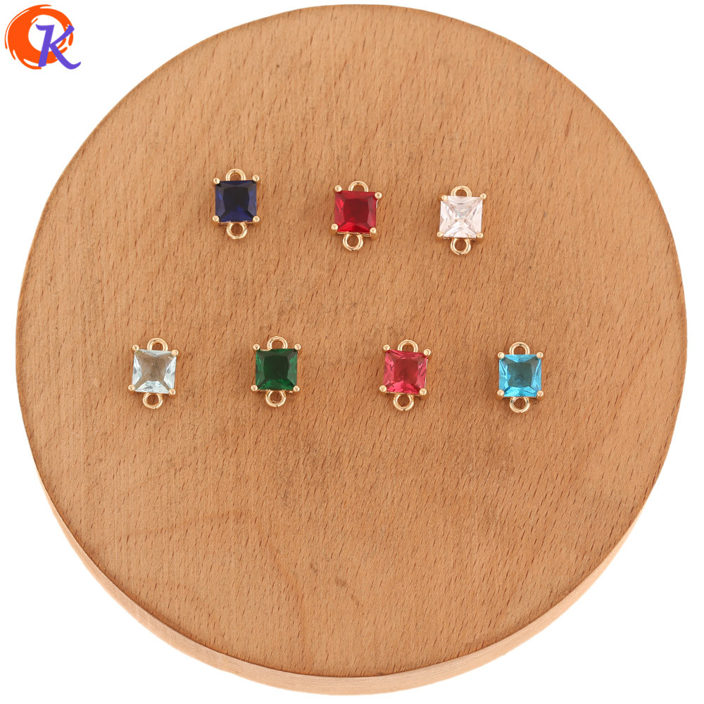Cordial Design 100Pcs 7*11MM Jewelry Accessories/Crystal Connectors/Square Shape/Hand Made/Earring Findings/DIY CZ Making