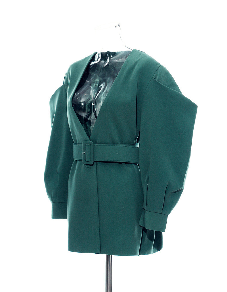 [EAM] 19 New Autumn Winter V-collar Long Batwing Sleeve Fold Split Joint Green Loose BandageJacket Women Coat Fashion JL083 19