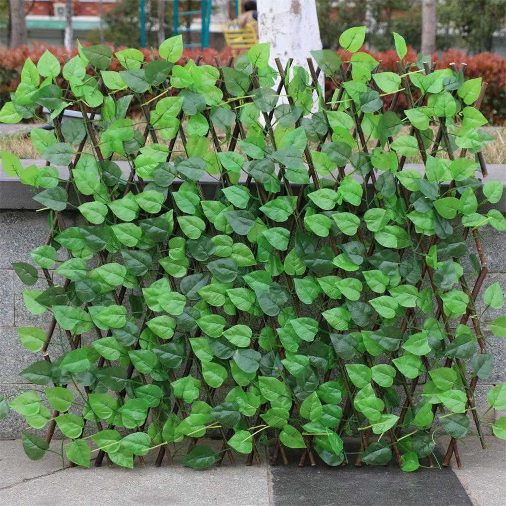 VIP Garden Fence Decoration Privacy Wood With Artificial Green Leaf Retractable Extension Fencing For Courtyard Home Decoration 1