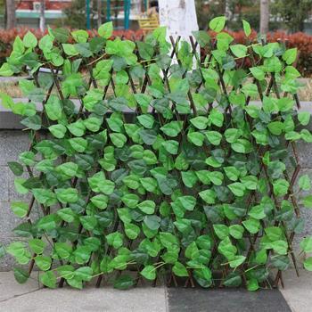 VIP płot ogrodowy dekoracja prywatność drewno z sztuczna zielona liść wysuwana przedłużka do dekoracji dziedzińca tanie i dobre opinie Trzy siedzenia garden fence Ogród sofa Meble ogrodowe Drewna Włókna garden fence artificial garden plant fence Minimalistyczny nowoczesny