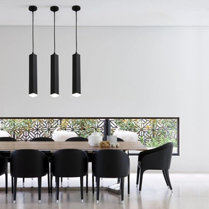Image 3 - led Pendant Lamp Kitchen Island Dining Room Shop Bar Counter Decoration Cylinder Pipe Hanging Lamps Ceiling Downlight AC85 265V