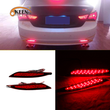 цена на OKEEN 2pcs Car Rear Bumper Reflector Lights For Hyundai Sonata 2011 2012 2013 2014 Car LED Daytime Running Lights Brake Fog Lamp