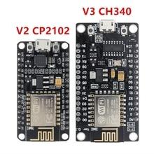 10 pces sem fio módulo ch340/cp2102 nodemcu v3 v2 lua wifi internet das coisas placa de desenvolvimento baseado esp8266 com antena do pwb