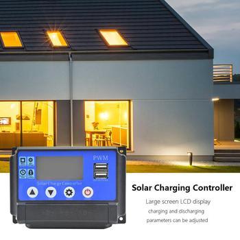 12 24V automatyczny Regulator ładowania słonecznego PWM kontrolery ekran LCD 5V wyjściowy Regulator słoneczny z podwójnym wyświetlaczem LCD USB tanie i dobre opinie Solar Controllers Solar system controller