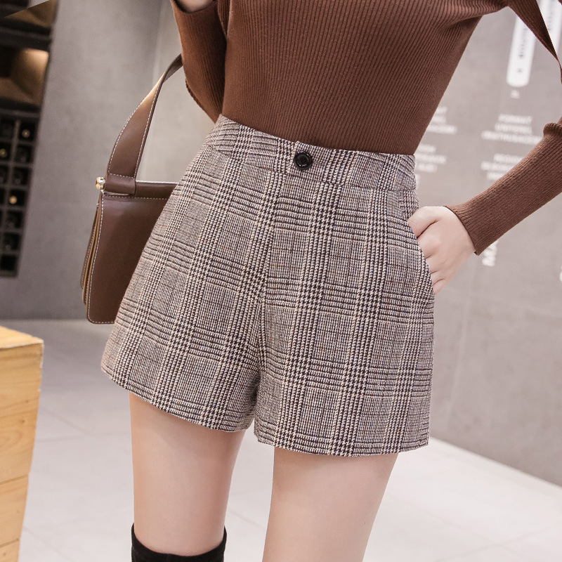 Winter Plaid Short Women 2020 Plus Size Korean  Booty Shorts Women High Waist Loose Wide Leg Boots Shorts Womens Short Feminino
