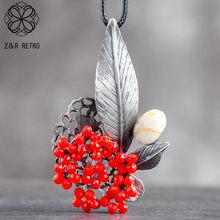 Collar largo con colgante de flores para mujer, cuentas de cristal Rojas, cuerda de suspensión Vintage, Gargantilla, joyería al por mayor