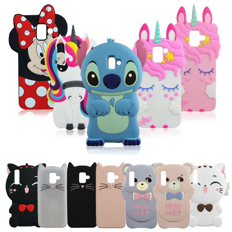 3D Silicon Unicorn Stitch Cat Bear Cartoon Soft Phone Case Cover For Samsung Galaxy A50 A6 J5 J7 J3 2016 2017 2018 J4 J6 Plus J8