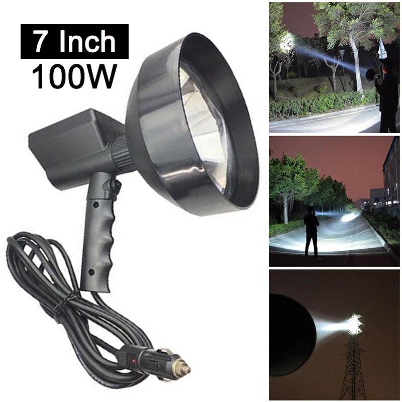7inch 100W Xenon Lamp Handheld Camping Hunting Fishing Spot Light Spotlight off road Car Light Bar led working lights 12v 24v
