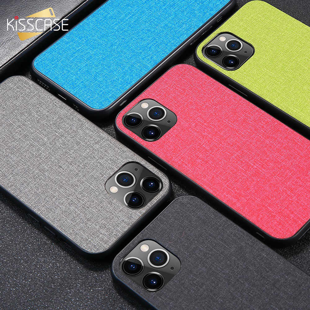 KISSCASE Luxury Phone Case For iPhone X XR XS MAX 5 5S SE 6 6S 7 8 Plus Fabric Cloth Soft TPU Back Cover For iPhone 11 Pro Max