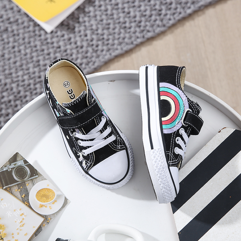 Image 4 - 2019 Fashion Kids Unicorn Canvas Sneakers Rainbow Vulcanized Shoes Hook & Loop Big Boys Shoes Girls Flat Footwear Sport TrainersSneakers   -
