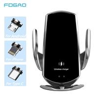 Cargador inalámbrico Qi automático para coche, soporte magnético de teléfono con Sensor infrarrojo, USB, 15W, para iPhone 12, 11, XS, XR, X, 8, Samsung S21, S20