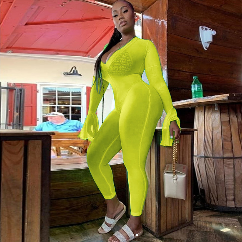 Adogirl Fluorescent Green Women Sexy Bandage Jumpsuit V Neck Long Flare Sleeve Skinny Romper Night Club Slim Overalls Outfits