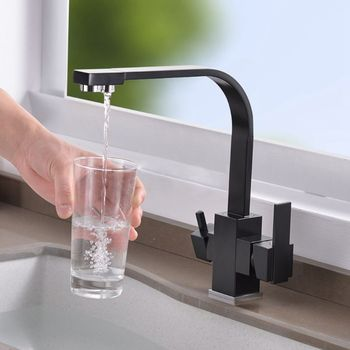 Copper Copper Three-in-One Water Purifier Faucet Kitchen Sink Net Faucet Rotating Straight Drinking Fountains Pure Water Home
