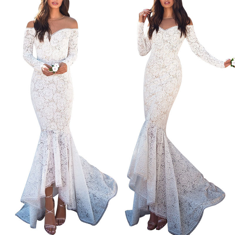 Explosion Shawl Long Sleeve Dress Slim Lace Party Dress Party Dress Sexy Dress Skinny Dress White Dress Mermaid Wedding Dresses