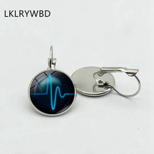 LKLRYWBD/Classic Heartbeat Logo Earrings Silver Bronze Earrings Glass Pendant Earrings Fashion Lady Girl Jewelry Beautiful Gift. татуировка переводная heartbeat