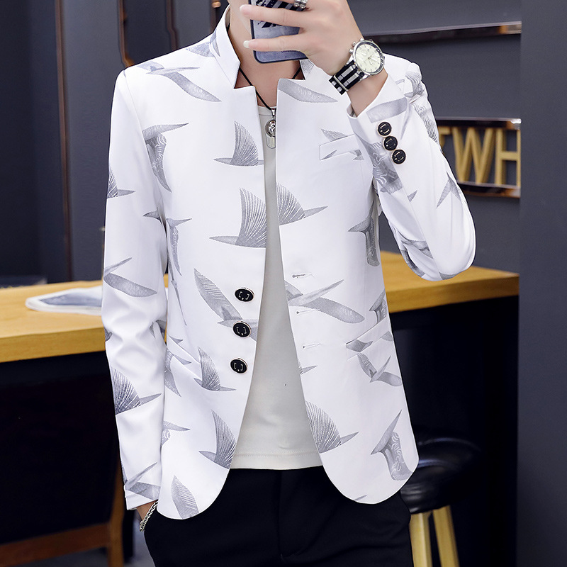 2020 Men Stand Collar Printed Small Blazer Teenager Slim Fit Casual Handsome Blazer